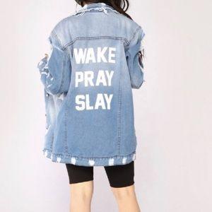 Wake, Pray, Slay denim jacket